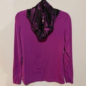 Mondetta Purple Black Snap cowl neck athletic Top